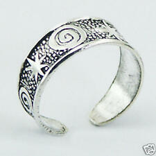 Silver Stars & Spiral Toe Ring Adjustable Sterling Silver 925 Best Price Jewelry