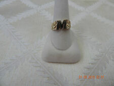 "10K yellow gold initial ring, initial ""M"", size 10, 4.40 grams"