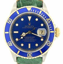 Mens Rolex Submariner 18k Yellow Gold Stainless Steel Watch Blue Sub Green 16613