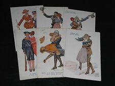 ORIGINAL SET OF SIX XAVIER SAGER GLAMOUR POSTCARDS, AMITIE FRANCO-AMERICAINE, 50
