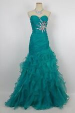 Teal Masquerade Long Gown Evening Prom Formal Size 7 Pageant Dress $160 Straples
