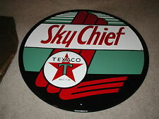 """Unused 23-1/2"""" dia Texaco Sky Chief Embossed Tin Advertising sign AAA sign Co."""
