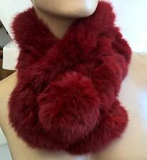 bright red genuine real rabbit fur pom pom scarf neck warmer collar shawl stole