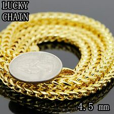 """STAINLESS STEEL GOLD SMOOTH FRANCO BOX CHAIN NECKLACE/36""""x 4.5mm/63g/E608"""