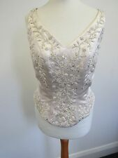 Alfred Angelo Beaded Embroidered Cappuccino Wedding Bodice Corset UK14 - BAR H21