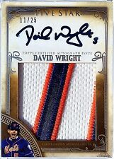 2016 Five Star DAVID WRIGHT On Card AUTO /25 Game Worn JUMBO 3 Clr Jersey PATCH