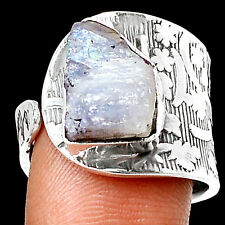 Moonstone Rough 925 Sterling Silver Ring Jewelry s.8.5 RR4495