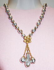 MIRIAM HASKELL GOLD PLATED BAROQUE FAUX PEARL DROP BEAD NECKLACE 20""