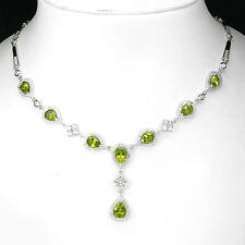 LUXURIOUS!NATURAL GEM TOP RICH GREEN PERIDOT STERLING 925 SILVER NECKLACE
