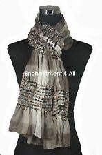 Stylish Ruffled 2-Ply Jacquard Cashmere Pashmina Long Scarf Wrap Shawl, Taupe