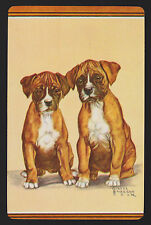 1 Single VINTAGE Swap/Playing Card DOG BOXER PUPS PUPPY Artist GLADYS COOK