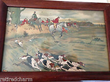 ❤️FRAMED CECIL ALDIN The Hunt Original Print Signed c1900 Rare Antique Vintage❤️