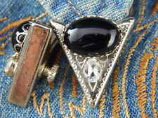 NEW SMALL  HANDCRAFTED BLACK ONYX COLLAR TIPS SILVER METAL,WESTERN, LADIES/ MENS