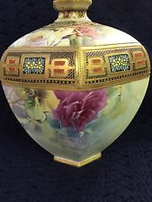 Nippon Gilt Beaded Hand Painted 9 inch Porcelain Rose Vase Maple Leaf c1891