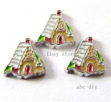 10pcs Gingerbread House Floating charm For Glass memory Locket Free shipping 326
