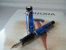 Aurora Optima Auroloide blue with chrome trim piston filling fountain pen MIB
