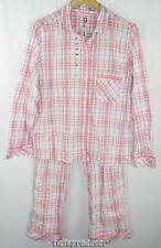New Women's Victoria Secret Pink/Blue/White/Gray Plaid Long Pajama Set M NWT