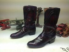 VINTAGE LUCCHESE BLACK CHERRY BRUSH-OFF SAN ANTONIO ENGINEER BOSS BOOTS 10C