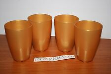 Tupperware 1 Set (4) Open House Tumbler Gold Color 18 oz. New!!!