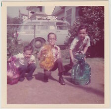 Square Vintage 70s PHOTO Trio Little Boys Brothers In Yard w/ Easter Baskets