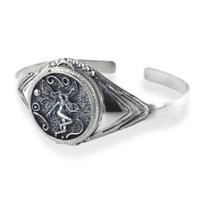 Fairy Poison Locket or Prayer Box Sterling Silver Cuff Bracelet 7.5""