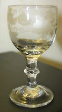 Late Georgian Gin / Liqueur Glass with Engraved Bowl & Bladed Knop Stem 10 cm