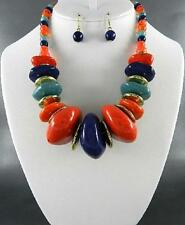 Multi Color Lucite Bead Gold Tone Disk Gradual Chunky Necklace Earring Set