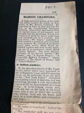 Q1-j Ephemera 1909 Article Obituary Marion Crawford Sculptor Italy