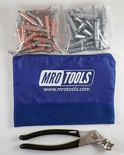 25 1/8 & 25 3/32 Cleco Fasteners + Cleco Pliers w/ Mesh Carry Bag (K4S50-3)