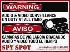 Warning Audio & Video Surveillance on Duty at all Times Sign English and Spanish