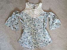 WOMEN HOLLISTER BLUE WHITE FLORAL OFF SHOULDER CUTE SHIRT KNIT TOP XSMALL XS NWT
