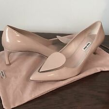 MIU MIU Prada 38.5 Italy Nude Patent Leather Classic Pump Heels Lucite Cut Out