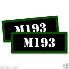 """M193 Ammo Can 2x  Labels Ammunition Case 3""""x1.15"""" stickers M193 decals 2 pack"""