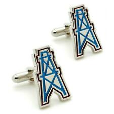 HOUSTON OILERS CUFFLINKS Sports Team Logo Football NEW w GIFT BAG Groom Wedding