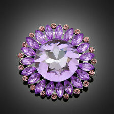 Big Round Purple Crystal Women Wedding Party Dress Rhinestone Jewelry Brooch Pin