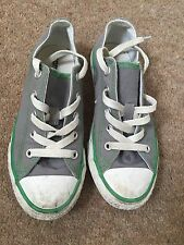 Converse Double Tongue Low Youth Grey White Green Size 13.5 Kids Trainer Shoes