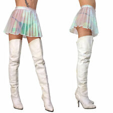 Holographic irridescent mini Skirt Schoolgirl lip hologram rave service cyberdog