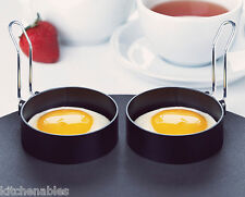 AMCO HOUSEWORKS ROUND EGG RINGS SET OF 2, NON STICK STAINLESS HANDLE, PANCAKES 2