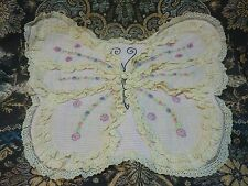 ANTIQUE  FRENCH butterfly DOILIE  HAND EMBROIDERY PILLOW COVER  lace PINK