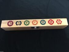 CHAKRA WOODEN GIFT BOX FOR GEMSTONES CRYSTAL REIKI NEW AGE PAGAN COLLECTABLES