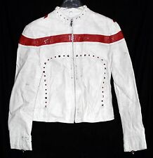 Vtg Wilsons Leather Rock N Roll Motorcycle Womens White Red Studded Jacket Sz L