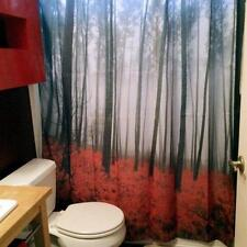 70X70 Inches Fabric bathroom Shower Curtains Mystic Forest Red Grass Modern Art