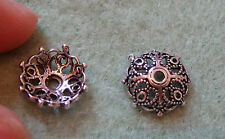 sterling silver bead caps 925  flower spacer UK finding 10 mm antique