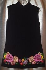 Vintage 1960's Tessuto Di Falconetto Black Shift Dress With Floral Embellishment