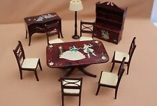 Vtg Doll House Miniature Renwal Stenciled Dining room Full set Furniture Lot