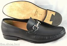 R - Men's SALVATORE FERRAGAMO 'Raffaele' Black Leather Loafers Size US 10 - D