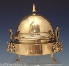 """GORHAM SILVERPLATE BUTTER DOME WITH 3-D BULLS 6 1/2"""" CIRCA 1880's (#0627)"""