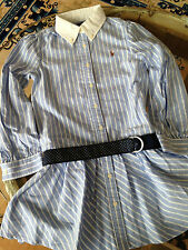 RALPH LAUREN STRIPED OXFORD SHIRT DRESS, GR. 7 JAHRE, MIT GÜRTEL, NEU M. ETIKETT