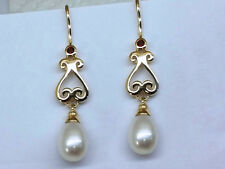 E056- Superb Genuine 9ct SOLID Yellow Gold NATURAL Garnet & Pearl Drop Earrings