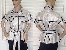 Designer Camilla and Marc size 12 Blazer Coat Top Blouse Silver Stone